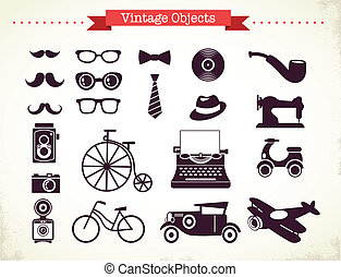 årgång, objekt, hipster, kollektion