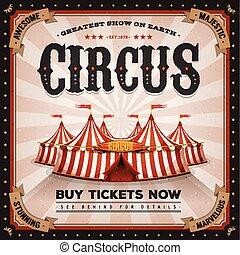 årgång, och, grunge, cirkus, affisch