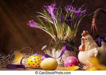 årgång, påsk, kort, vår blommar, på, a, trä, bakgrund
