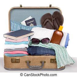 årgång, packat, resväska