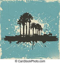 årgång, palm, bakgrund, träd