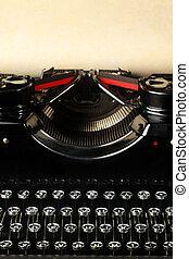 Årgång, papper, gammal, skrivmaskin, tom