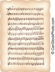 årgång, papper, handgjord, noterar., musikalisk