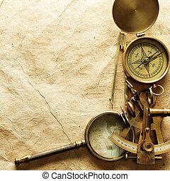 årgång, papper, kompass