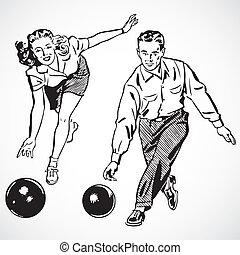 årgång, par, vektor, bowling