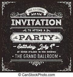 årgång, parti, inbjudan, kort, på, chalkboard