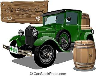årgång, patrick's, öl, vektor, lastbil, helgon, tecknad film
