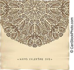 årgång, pergament, kort, valentinbrev