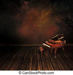 årgång, piano, på, konst, abstrakt, bakgrund