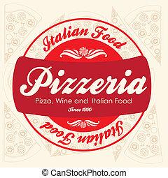 årgång, pizzeria, etikett