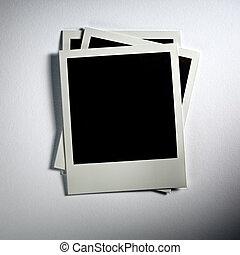 Årgång, Polaroidkamera, bakgrund, foto, Kort, vit, tom