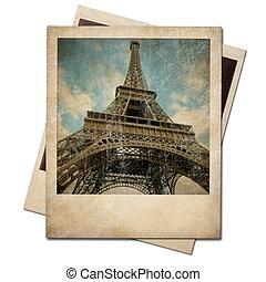 årgång, polaroidkamera, eiffel torn, ögonblick, foto