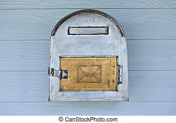 årgång, postbox, på, trä, wall.