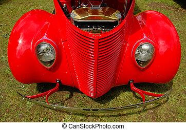 årgång, röd bil