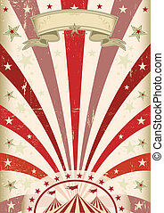 årgång, röd, cirkus, affisch