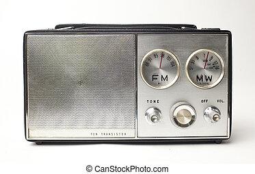 årgång radio, bärbar, silver