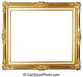 årgång, ram, guld, bild