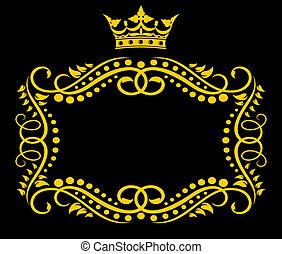 årgång, ram, med, krona