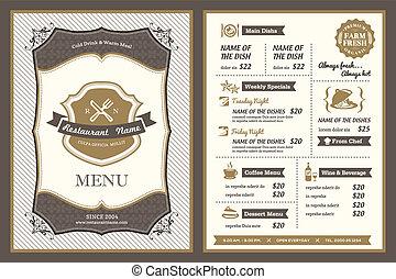 årgång, ram, restaurang, design, meny