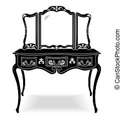 årgång, ram, spegel, bord, påklädning