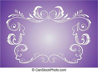 årgång, ram, violett