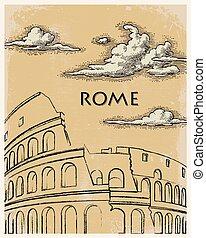 årgång, resa, rom, affisch