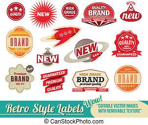 årgång, retro, etiketter, och, märken