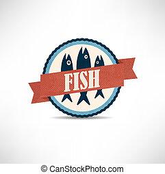 årgång, retro, fish, etiketter