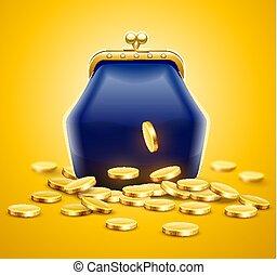 årgång, retro, portmonnä, för, pengar, med, guld peng