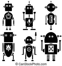 årgång, retro, robotarna, 2, sätta, av, 6b