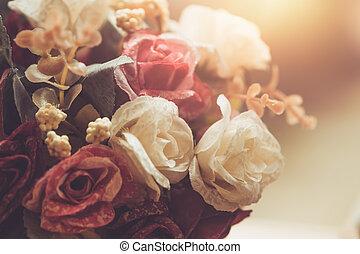 årgång, ro, blomma, dekoration, retro, boutique, stil