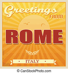 årgång, rom, italien, affisch