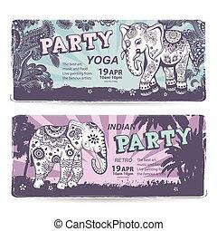 årgång, sätta, av, baner, med, etnisk, elefanter