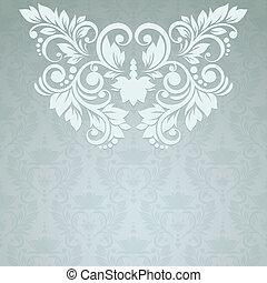 årgång, seamless, elegant, bakgrund, blommig, kort, (...