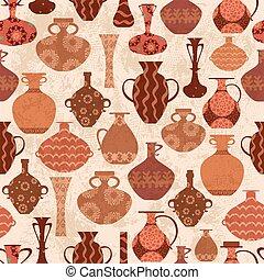 årgång, seamless, struktur, med, etnisk, vaser