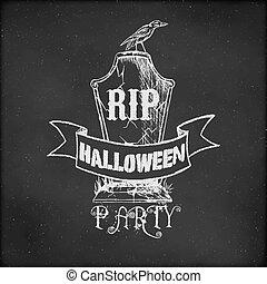 årgång, skiss, halloween festa, blackboard