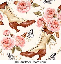 årgång, skor, bakgrund, seamless