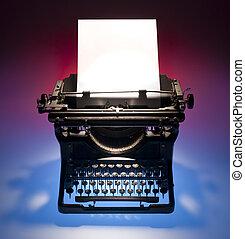 årgång, skrivmaskin, och, papper