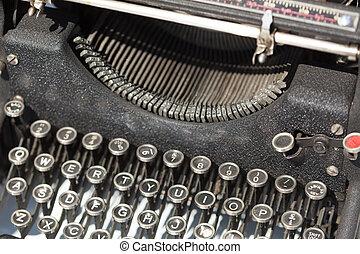årgång, skrivmaskin, till salu, hos, loppmarknad