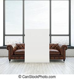 årgång, soffa, och, vit, affisch