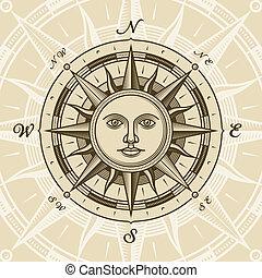 årgång, sol, ro, kompass