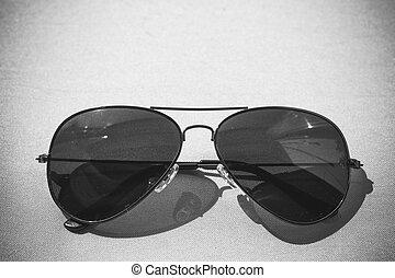 årgång, solglasögon, tillsluta