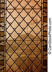 årgång, stained-glass, fönster, -, gammal, bakgrund