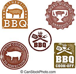 årgång, stil, frimärken, barbecue