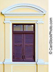 Årgång, stil, gammal, fönster