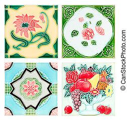 årgång, stil, gammal, tegelpanna, dekorativ, yta, blomma