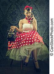 årgång, stil, -, kvinna prata, med, visartavla, ringa, in,...