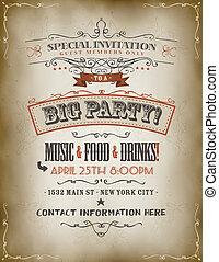 årgång, stor, parti, inbjudan, affisch