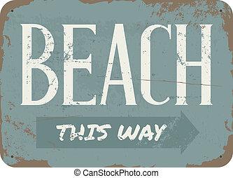årgång, strand, metall signera