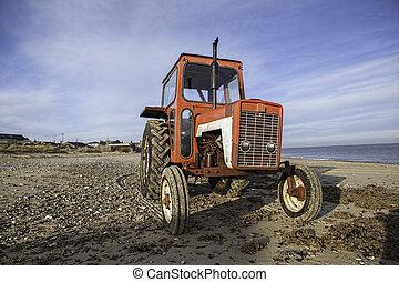 årgång, strand, traktor, röd